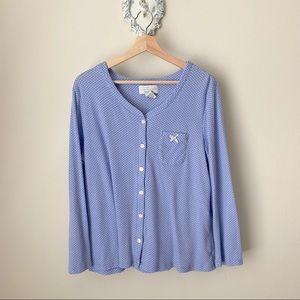 Karen Neuburger Pajama top blue white polka dots